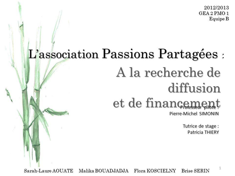 Lassociation Passions Partagées : A la recherche de diffusion et de financement 2012/2013 GEA 2 PMO 1 Equipe B Sarah-Laure AOUATE Malika BOUADJADJA Fl