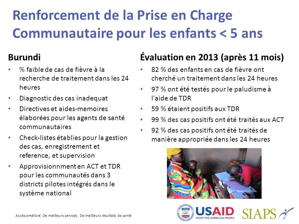 Accès amélioré. De meilleurs services. De meilleurs résultats de santé Renforcement de la Prise en Charge Communautaire pour les enfants < 5 ans Burun