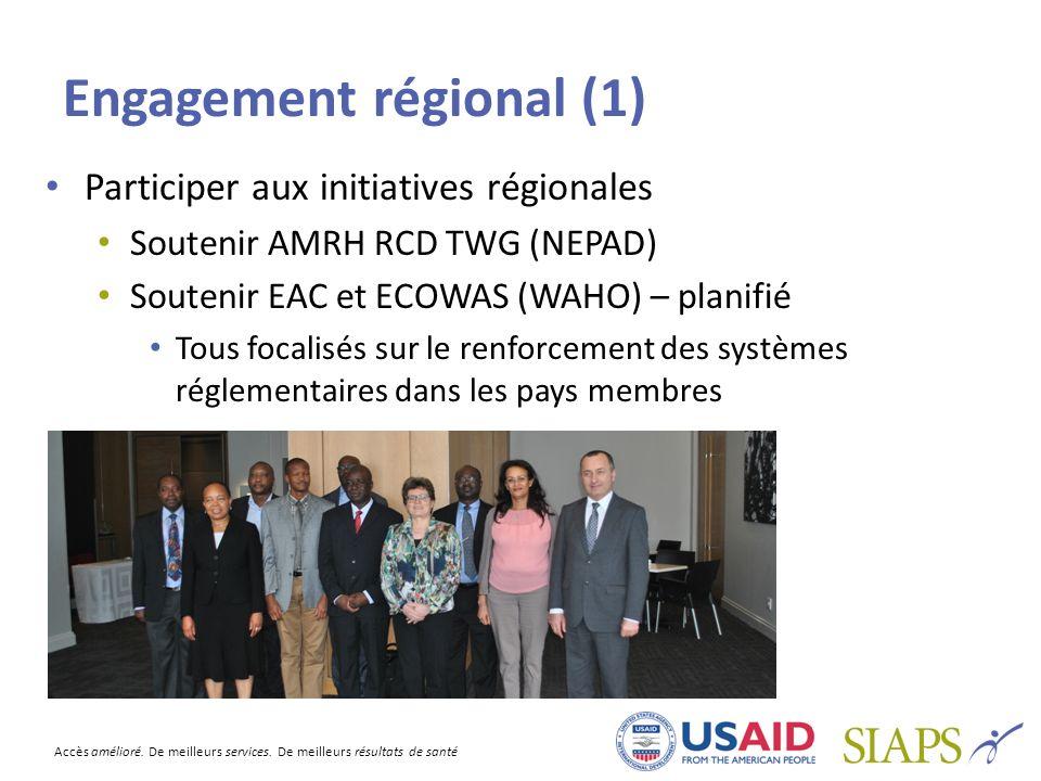 Accès amélioré. De meilleurs services. De meilleurs résultats de santé Engagement régional (1) Participer aux initiatives régionales Soutenir AMRH RCD