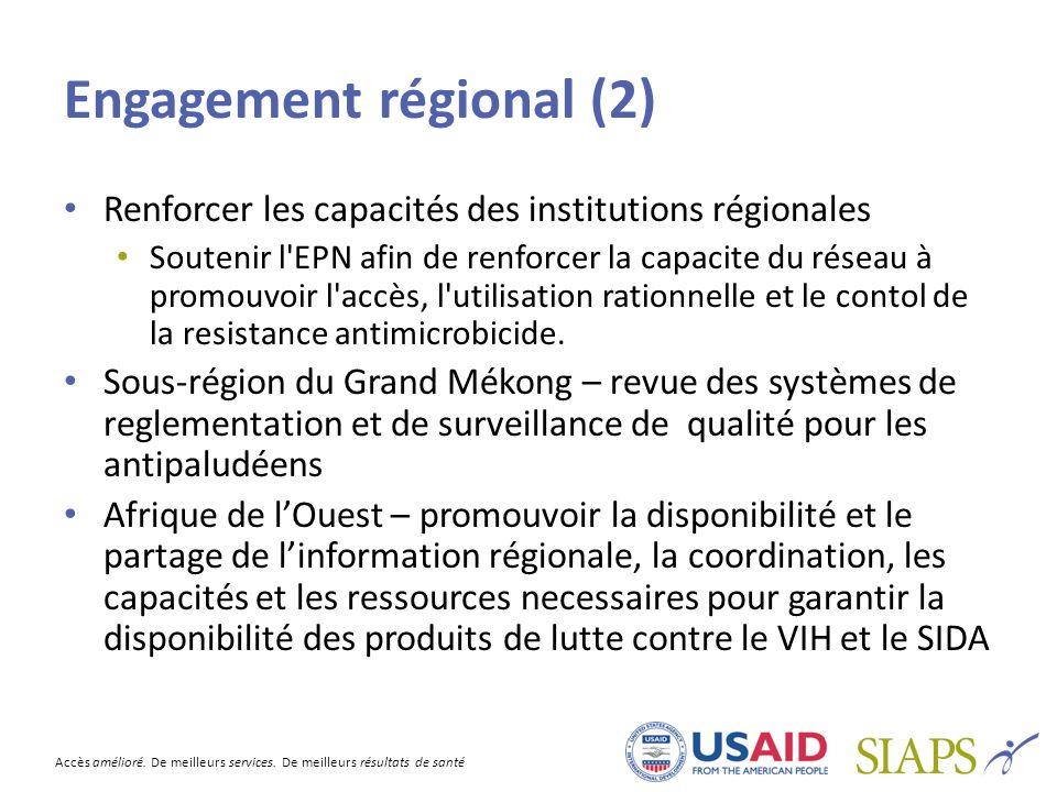 Accès amélioré. De meilleurs services. De meilleurs résultats de santé Engagement régional (2) Renforcer les capacités des institutions régionales Sou