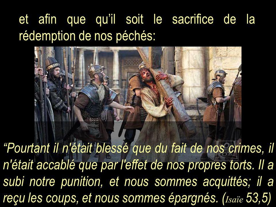 et afin que quil soit le sacrifice de la rédemption de nos péchés: Pourtant il n'était blessé que du fait de nos crimes, il n'était accablé que par l'