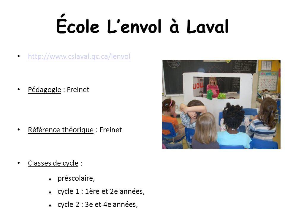 École Lenvol à Laval http://www.cslaval.qc.ca/lenvol Pédagogie : Freinet Référence théorique : Freinet Classes de cycle : préscolaire, cycle 1 : 1ère et 2e années, cycle 2 : 3e et 4e années, cycle 3: 5e et 6e années.