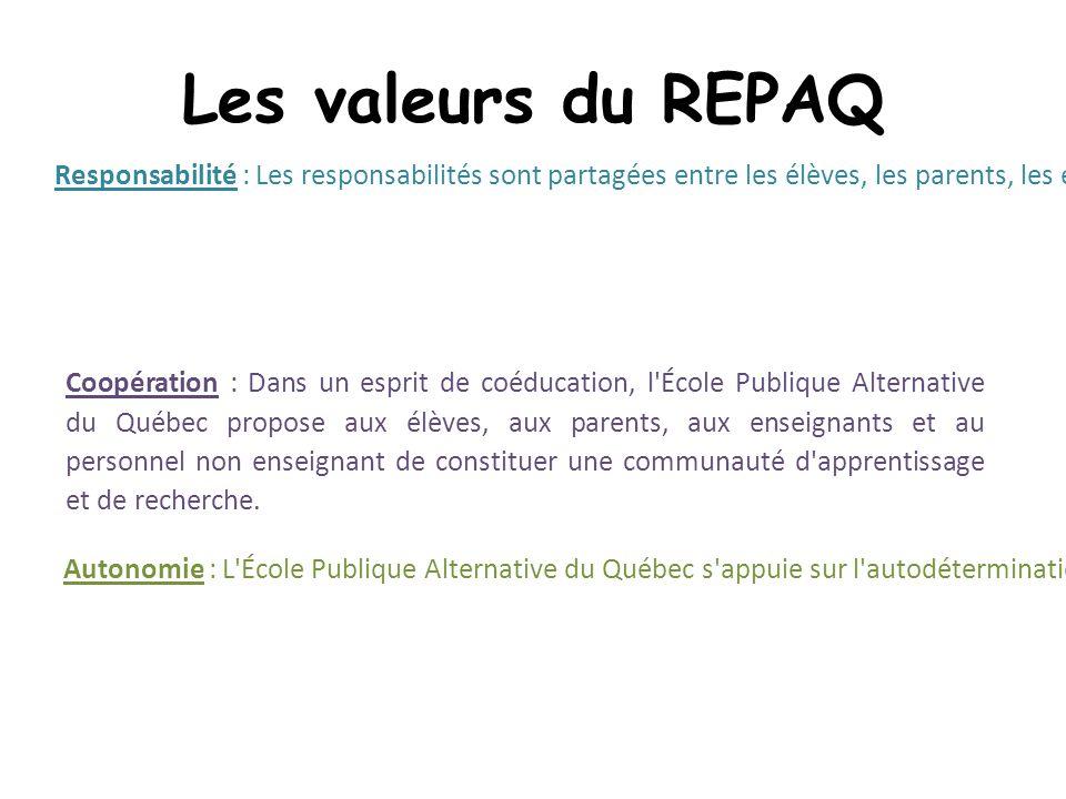 Les valeurs du REPAQ Coopération : Dans un esprit de coéducation, l École Publique Alternative du Québec propose aux élèves, aux parents, aux enseignants et au personnel non enseignant de constituer une communauté d apprentissage et de recherche.