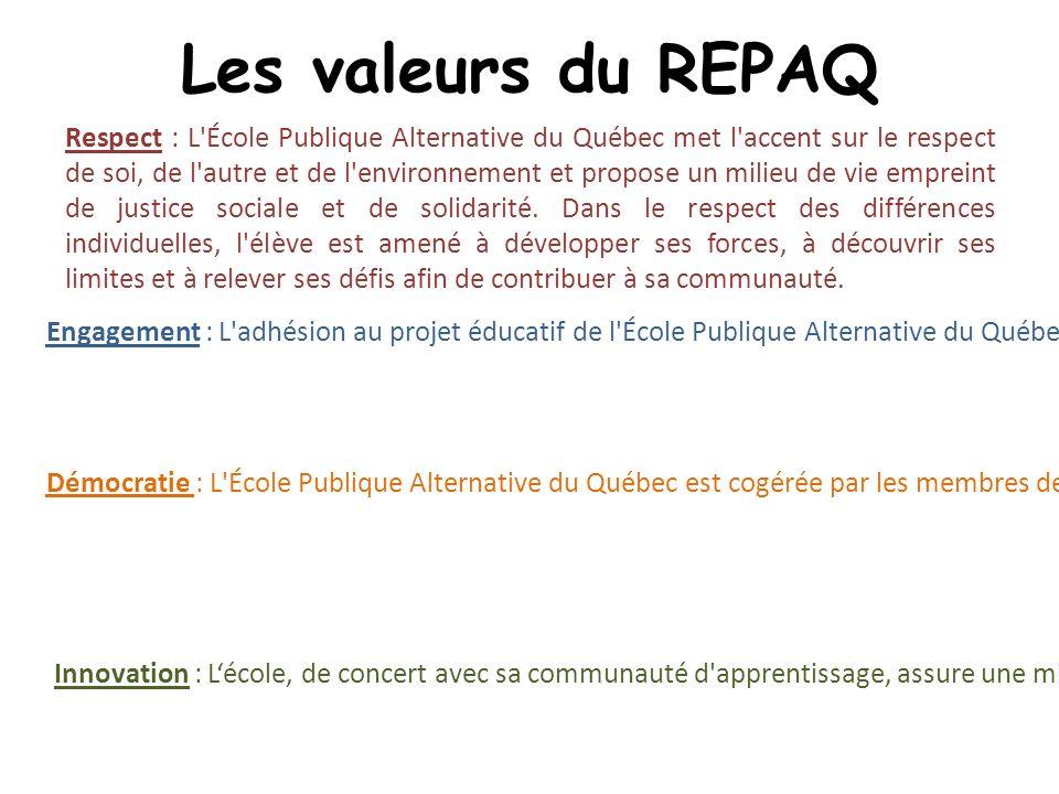 Les valeurs du REPAQ Respect : L École Publique Alternative du Québec met l accent sur le respect de soi, de l autre et de l environnement et propose un milieu de vie empreint de justice sociale et de solidarité.