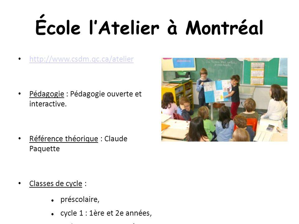 École lAtelier à Montréal http://www.csdm.qc.ca/atelier Pédagogie : Pédagogie ouverte et interactive.