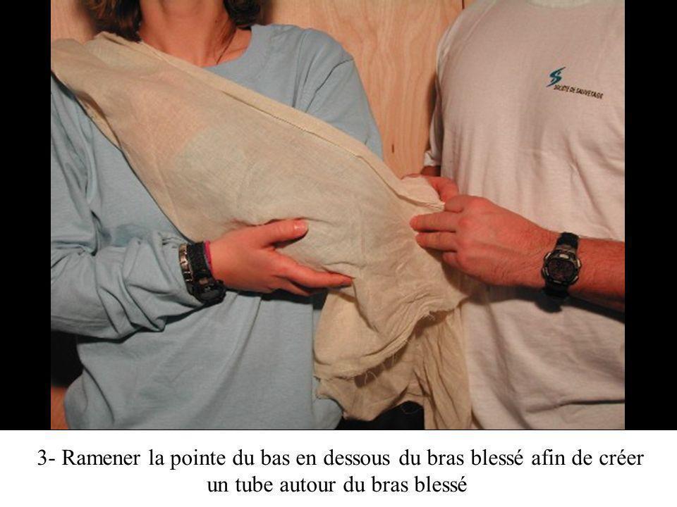 3- Ramener la pointe du bas en dessous du bras blessé afin de créer un tube autour du bras blessé