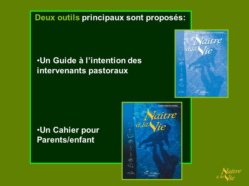 Un Guide à lintention des intervenants pastoraux Un Cahier pour Parents/enfant Deux outils principaux sont proposés: