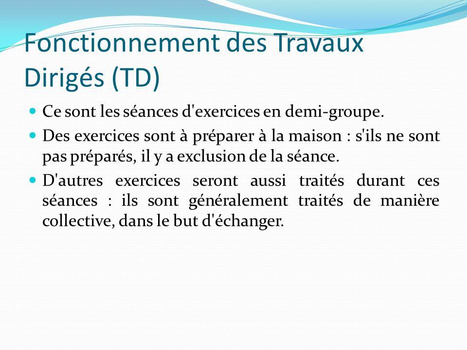 Fonctionnement des Travaux Dirigés (TD) Ce sont les séances d'exercices en demi-groupe. Des exercices sont à préparer à la maison : s'ils ne sont pas