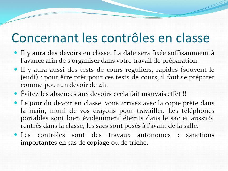 Concernant les contrôles en classe Il y aura des devoirs en classe. La date sera fixée suffisamment à l'avance afin de s'organiser dans votre travail