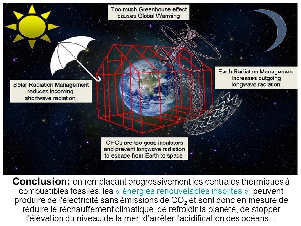 21 énergies renouvelables insolites pour le 21ème siècle Auteurs : Denis Bonnelle, Renaud de Richter Editions Ellipses, 176 pages, ISBN : 9782729854072 Conclusion: en remplaçant progressivement les centrales thermiques à combustibles fossiles, les « énergies renouvelables insolites » peuvent produire de l électricité sans émissions de CO 2 et sont donc en mesure de réduire le réchauffement climatique, de refroidir la planète, de stopper l élévation du niveau de la mer, darrêter l acidification des océans...« énergies renouvelables insolites »