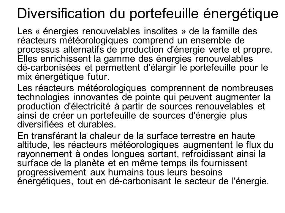 Diversification du portefeuille énergétique Les « énergies renouvelables insolites » de la famille des réacteurs météorologiques comprend un ensemble de processus alternatifs de production d énergie verte et propre.