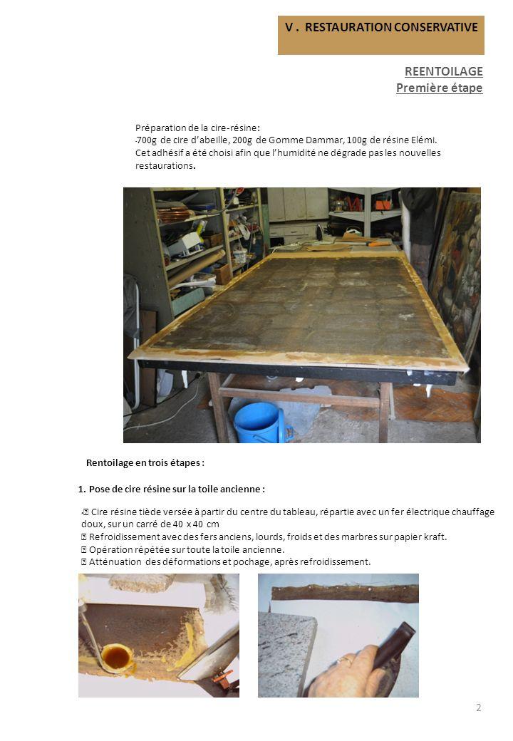 V. RESTAURATION CONSERVATIVE REENTOILAGE Première étape 2 1. Pose de cire résine sur la toile ancienne : Cire résine tiède versée à partir du centre d