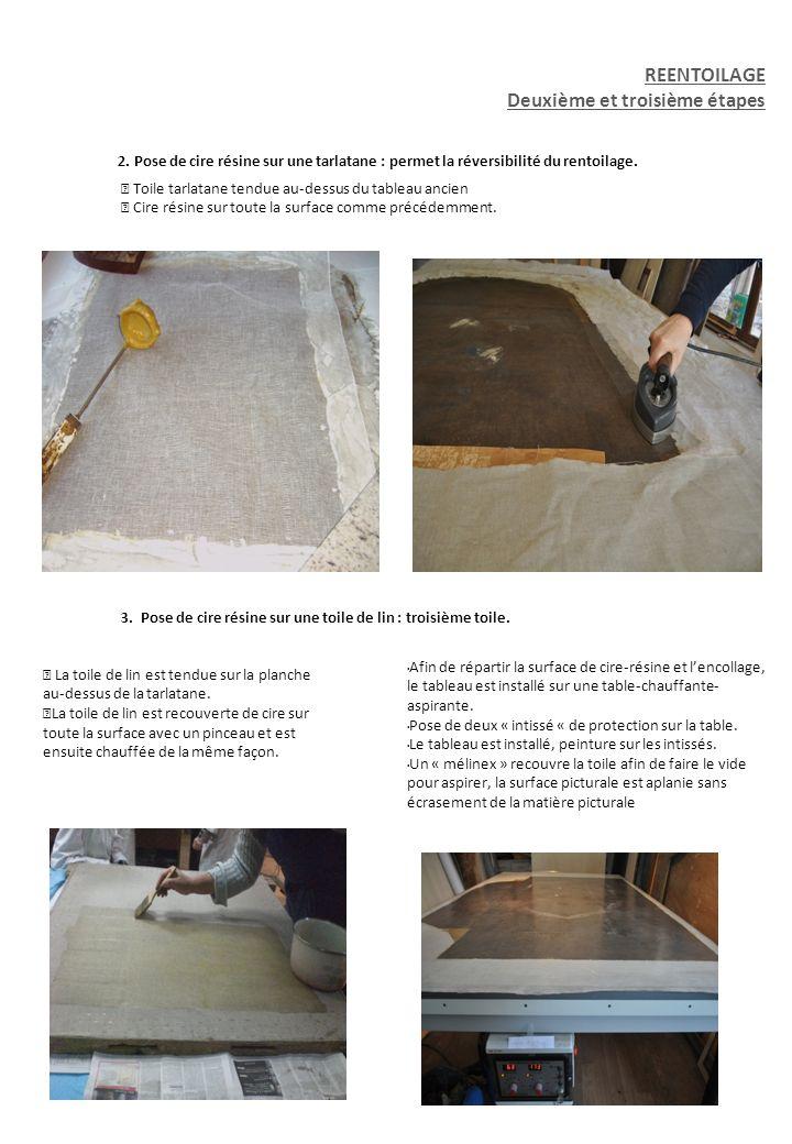 3 2. Pose de cire résine sur une tarlatane : permet la réversibilité du rentoilage. Toile tarlatane tendue au-dessus du tableau ancien Cire résine sur