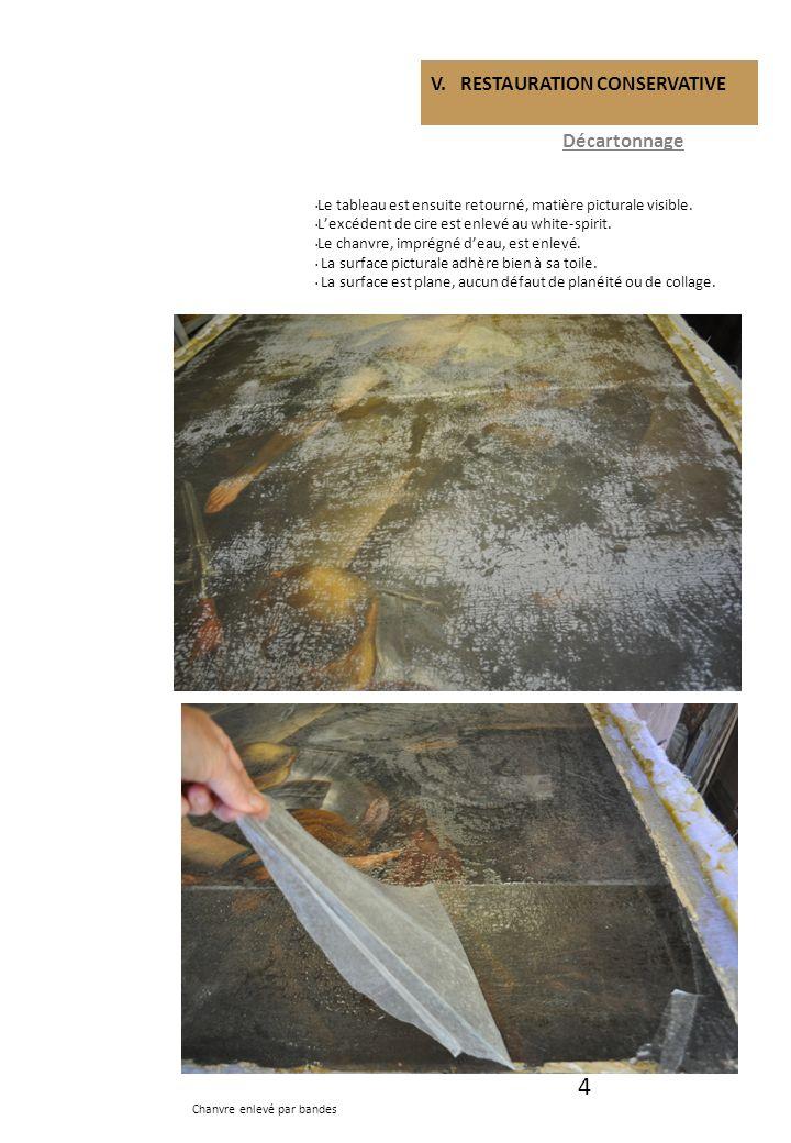 4 V. RESTAURATION CONSERVATIVE Décartonnage Le tableau est ensuite retourné, matière picturale visible. Lexcédent de cire est enlevé au white-spirit.