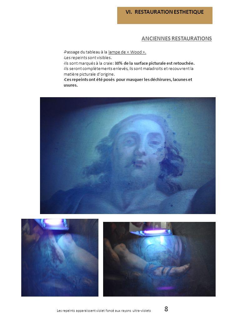 8 VI. RESTAURATION ESTHETIQUE ANCIENNES RESTAURATIONS Passage du tableau à la lampe de « Wood ». Les repeints sont visibles. Ils sont marqués à la cra