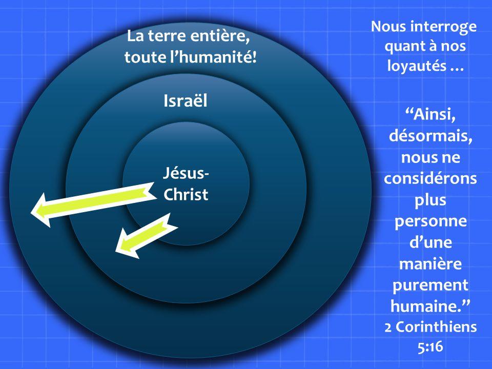 L Jésus- Christ La terre entière, toute lhumanité! Israël Nous interroge quant à nos loyautés … Ainsi, désormais, nous ne considérons plus personne du