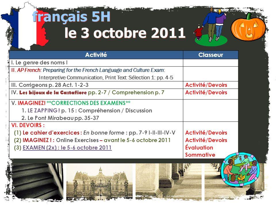 français 5H le 3 octobre 2011