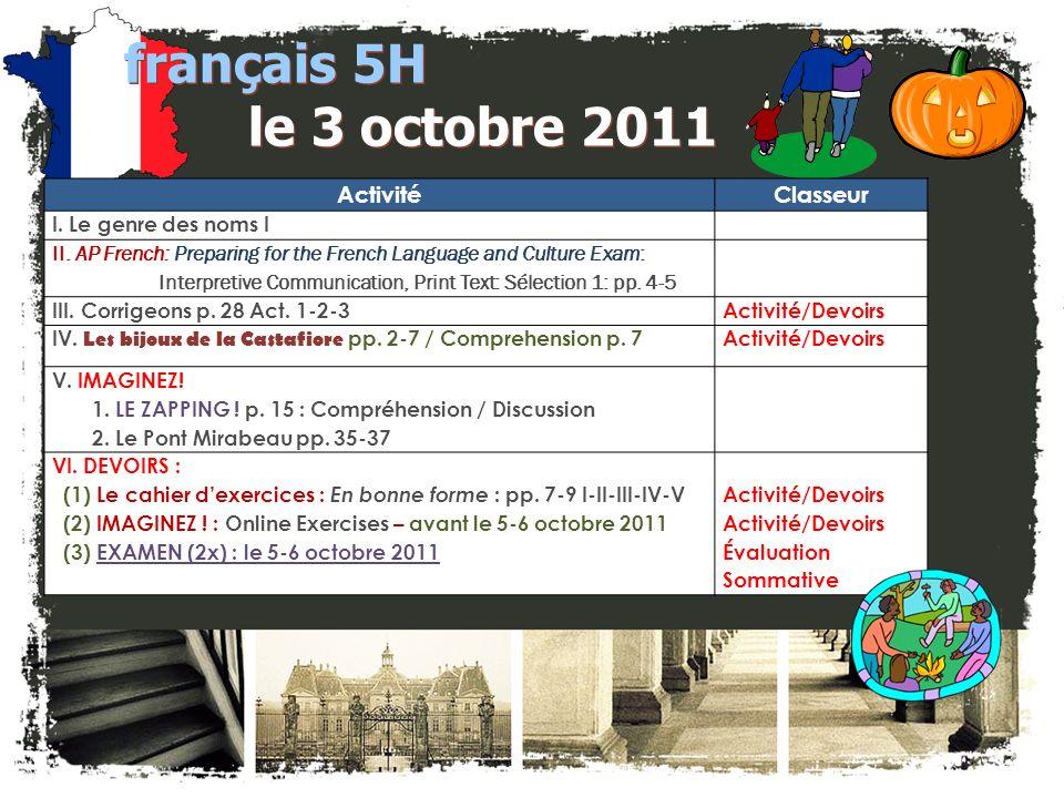 JE FAIS DES ANNONCES. français 2 / 5H / 6AP 1. Club Français -- $25 à M.