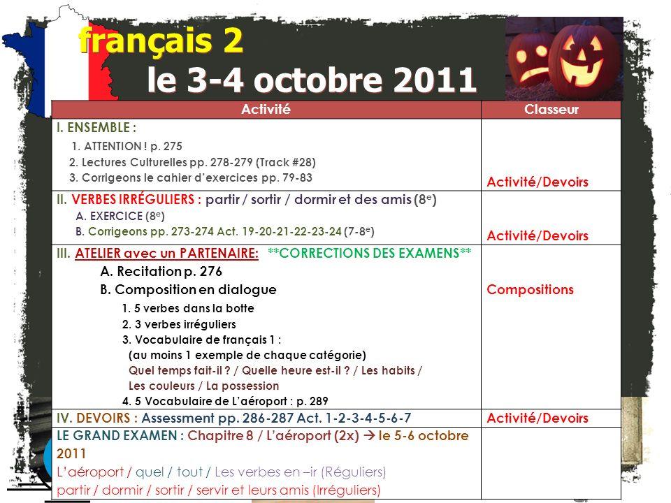 français 2 Le 3-4 octobre 2011