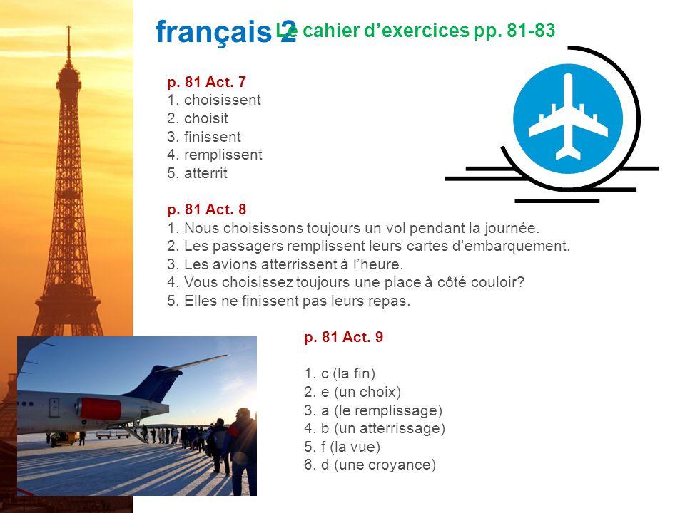 français 2 le 3-4 octobre 2011 ActivitéClasseur I.