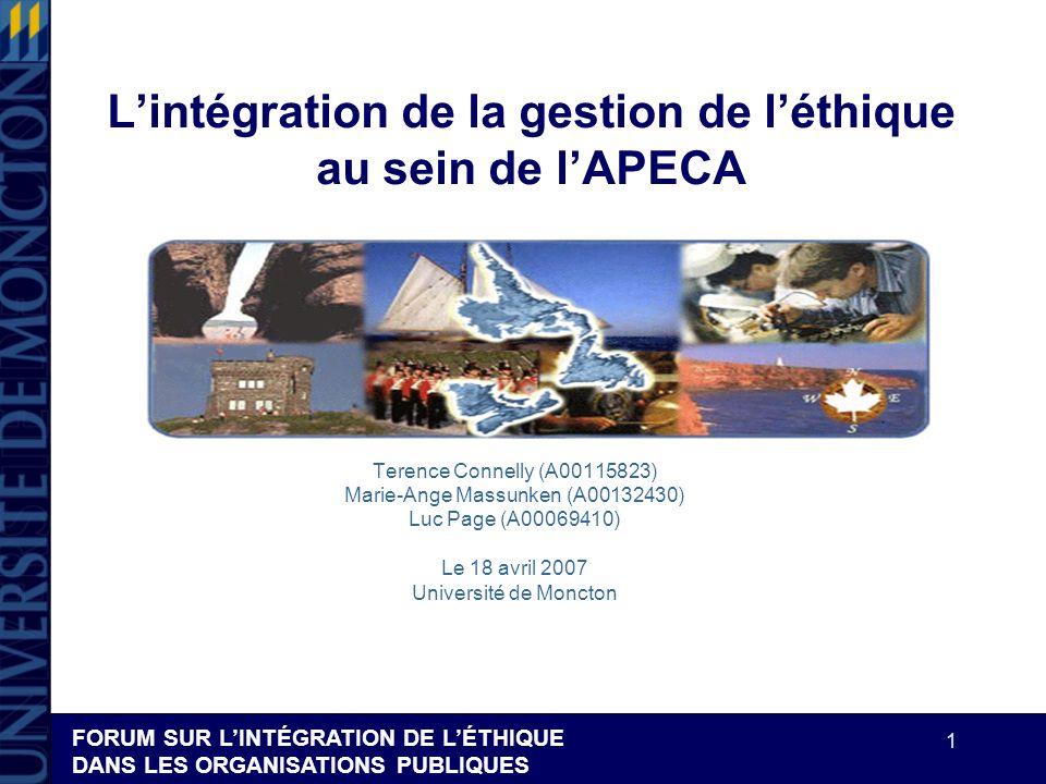 FORUM SUR LINTÉGRATION DE LÉTHIQUE DANS LES ORGANISATIONS PUBLIQUES 1 Lintégration de la gestion de léthique au sein de lAPECA Terence Connelly (A0011