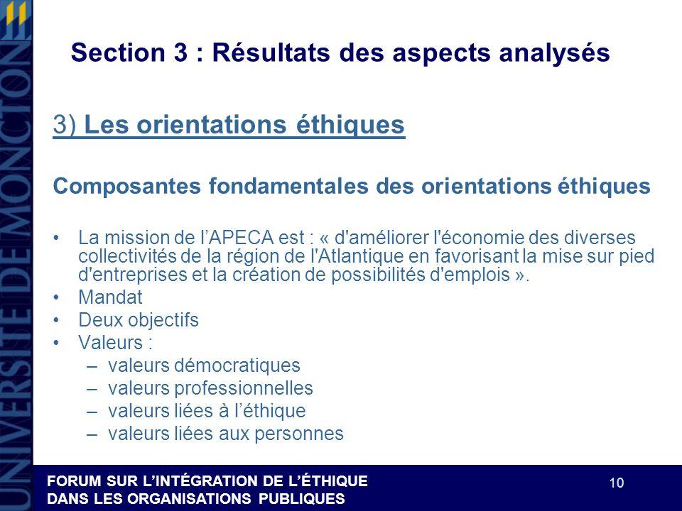 FORUM SUR LINTÉGRATION DE LÉTHIQUE DANS LES ORGANISATIONS PUBLIQUES 10 Section 3 : Résultats des aspects analysés 3) Les orientations éthiques Composa