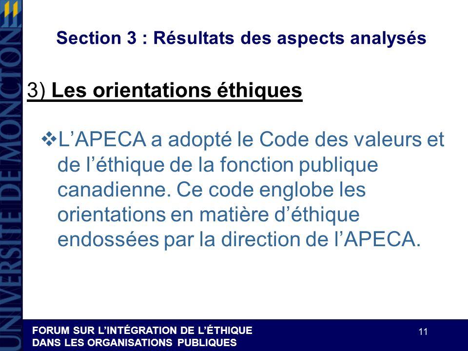 FORUM SUR LINTÉGRATION DE LÉTHIQUE DANS LES ORGANISATIONS PUBLIQUES 11 Section 3 : Résultats des aspects analysés LAPECA a adopté le Code des valeurs