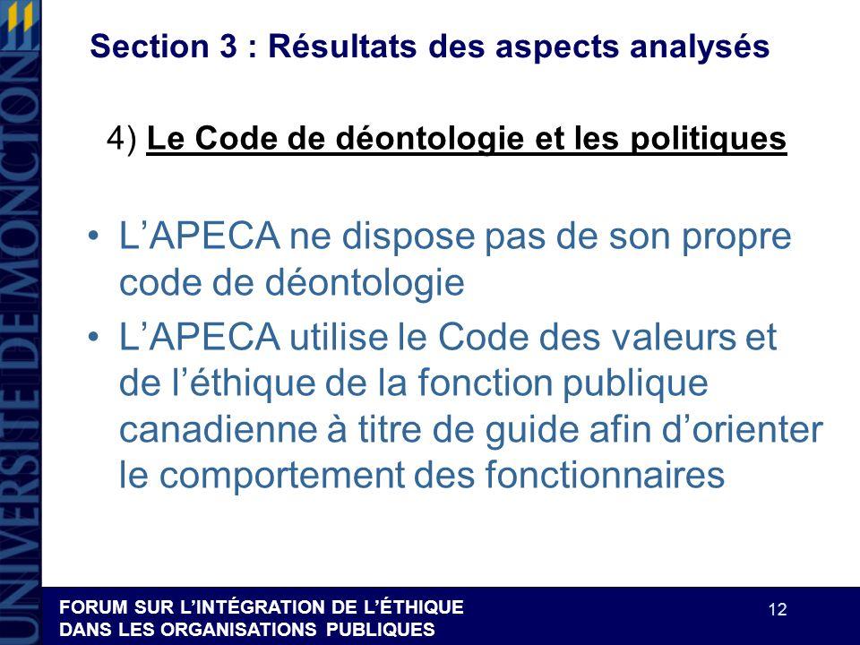 FORUM SUR LINTÉGRATION DE LÉTHIQUE DANS LES ORGANISATIONS PUBLIQUES 12 Section 3 : Résultats des aspects analysés LAPECA ne dispose pas de son propre