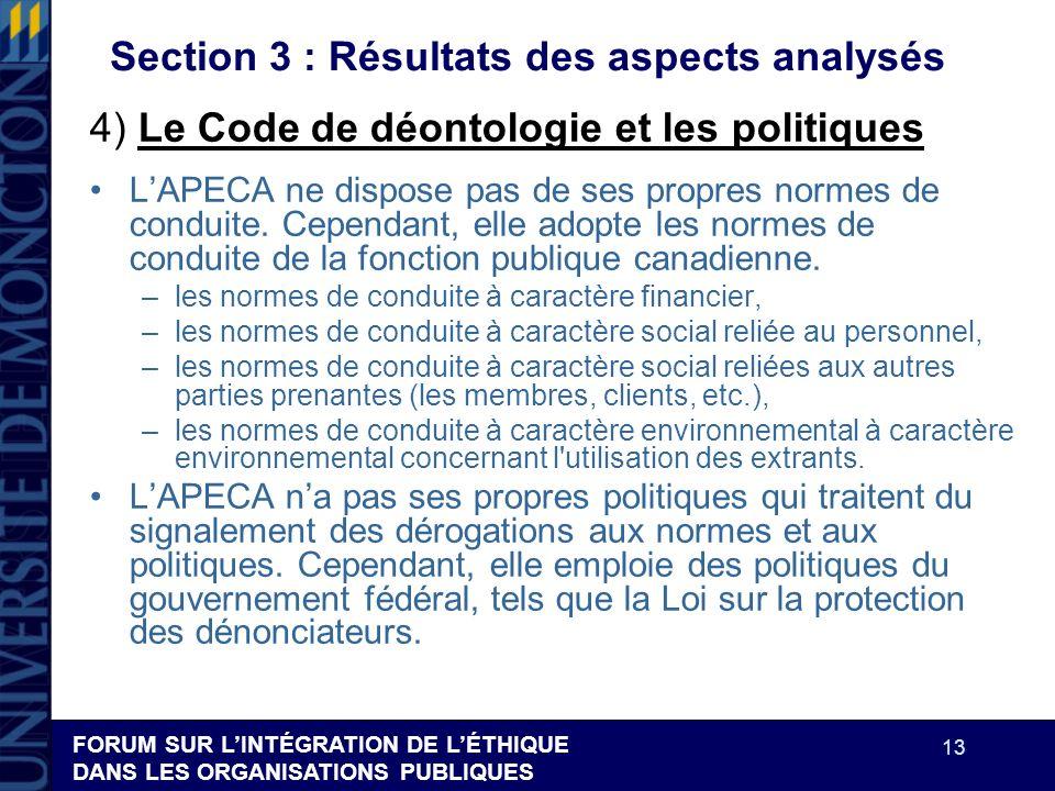 FORUM SUR LINTÉGRATION DE LÉTHIQUE DANS LES ORGANISATIONS PUBLIQUES 13 Section 3 : Résultats des aspects analysés LAPECA ne dispose pas de ses propres