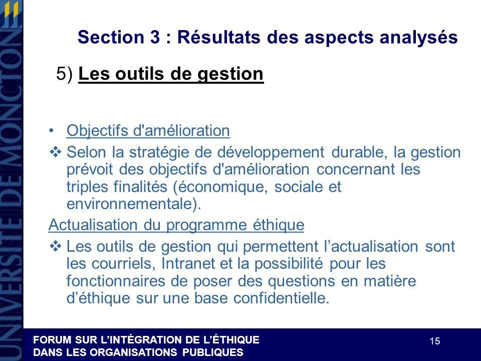 FORUM SUR LINTÉGRATION DE LÉTHIQUE DANS LES ORGANISATIONS PUBLIQUES 15 Section 3 : Résultats des aspects analysés Objectifs d'amélioration Selon la st