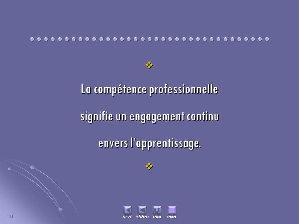 11 La compétence professionnelle signifie un engagement continu envers lapprentissage. Accueil Précédent Retour Fermer