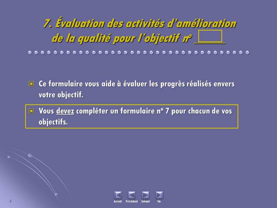 7. Évaluation des activités damélioration de la qualité pour lobjectif n o _____ Ce formulaire vous aide à évaluer les progrès réalisés envers votre o