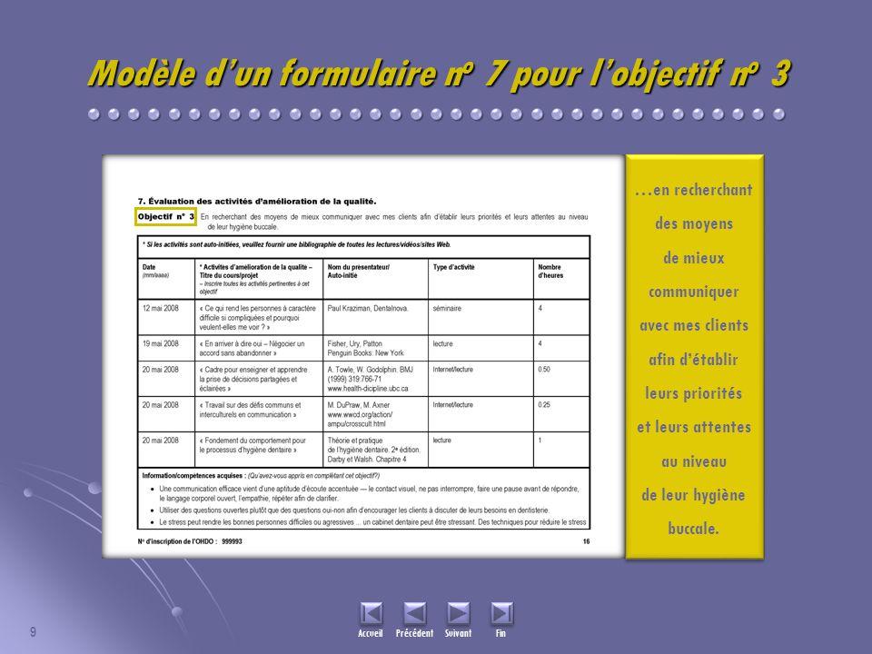9 Accueil Précédent Suivant Fin Modèle dun formulaire n o 7 pour lobjectif n o 3 …en recherchant des moyens de mieux communiquer avec mes clients afin