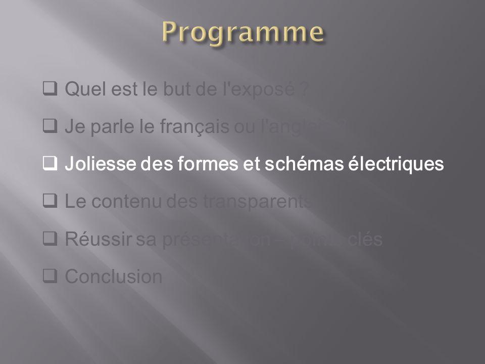 Quel est le but de l'exposé ? Je parle le français ou l'anglais ? Joliesse des formes et schémas électriques Le contenu des transparents Réussir sa pr