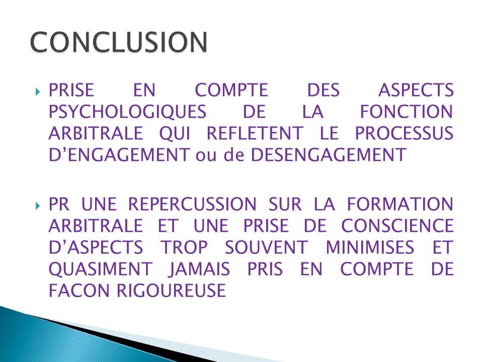 PRISE EN COMPTE DES ASPECTS PSYCHOLOGIQUES DE LA FONCTION ARBITRALE QUI REFLETENT LE PROCESSUS DENGAGEMENT ou de DESENGAGEMENT PR UNE REPERCUSSION SUR LA FORMATION ARBITRALE ET UNE PRISE DE CONSCIENCE DASPECTS TROP SOUVENT MINIMISES ET QUASIMENT JAMAIS PRIS EN COMPTE DE FACON RIGOUREUSE