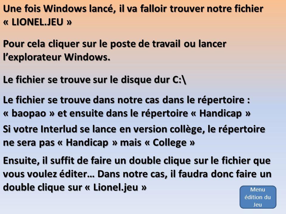 Menu édition du Jeu Une fois Windows lancé, il va falloir trouver notre fichier « LIONEL.JEU » Pour cela cliquer sur le poste de travail ou lancer lex
