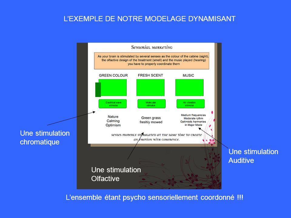 LEXEMPLE DE NOTRE MODELAGE DYNAMISANT Une stimulation chromatique Une stimulation Olfactive Une stimulation Auditive Lensemble étant psycho sensoriell