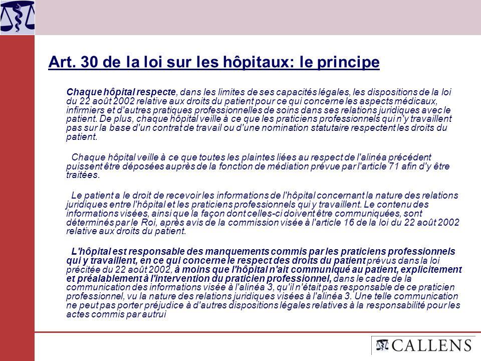 Art. 30 de la loi sur les hôpitaux: le principe Chaque hôpital respecte, dans les limites de ses capacités légales, les dispositions de la loi du 22 a