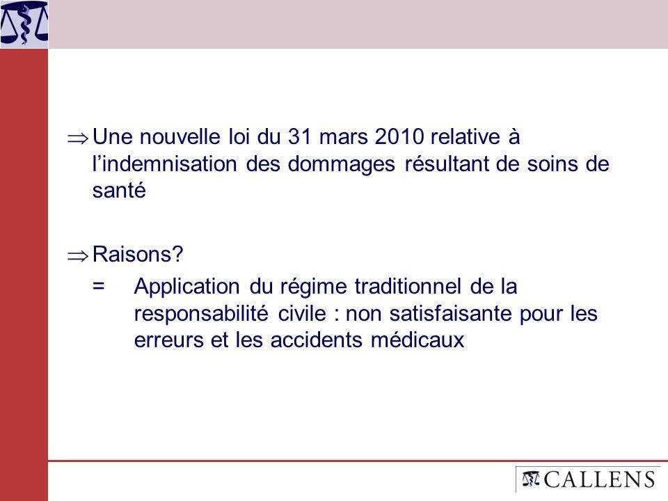 Une nouvelle loi du 31 mars 2010 relative à lindemnisation des dommages résultant de soins de santé Raisons? = Application du régime traditionnel de l