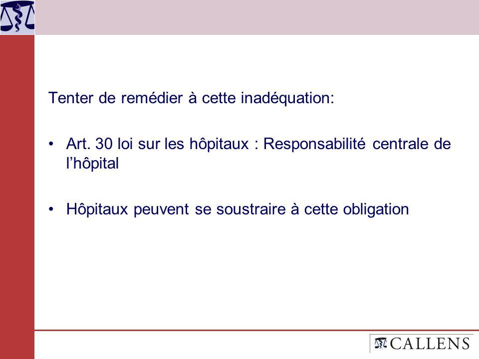 Tenter de remédier à cette inadéquation: Art. 30 loi sur les hôpitaux : Responsabilité centrale de lhôpital Hôpitaux peuvent se soustraire à cette obl