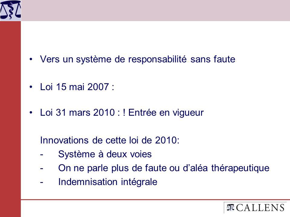 Vers un système de responsabilité sans faute Loi 15 mai 2007 : Loi 31 mars 2010 : ! Entrée en vigueur Innovations de cette loi de 2010: -Système à deu