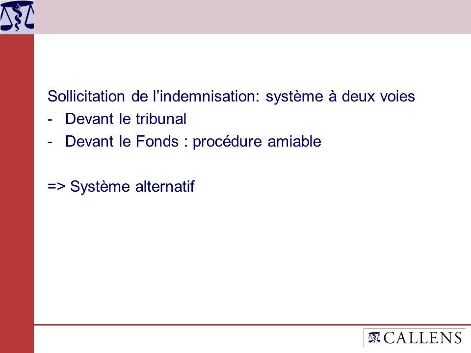 Sollicitation de lindemnisation: système à deux voies -Devant le tribunal -Devant le Fonds : procédure amiable => Système alternatif