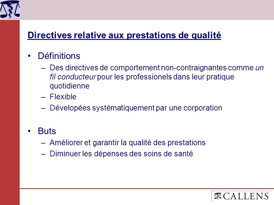 Directives relative aux prestations de qualité Définitions –Des directives de comportement non-contraignantes comme un fil conducteur pour les profess