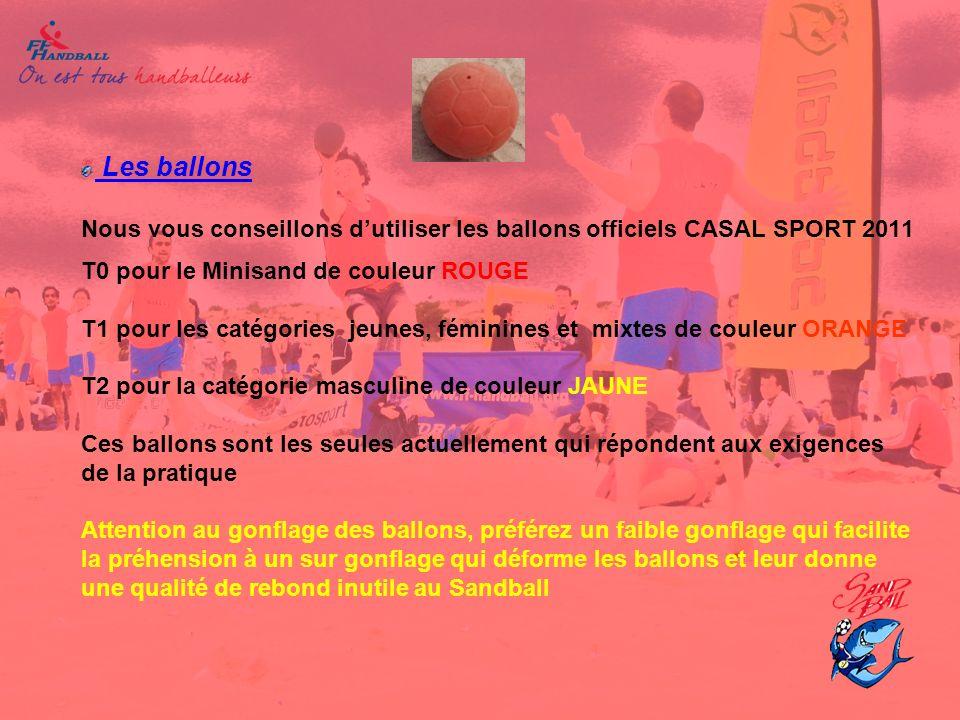 Les ballons Nous vous conseillons dutiliser les ballons officiels CASAL SPORT 2011 T0 pour le Minisand de couleur ROUGE T1 pour les catégories jeunes,