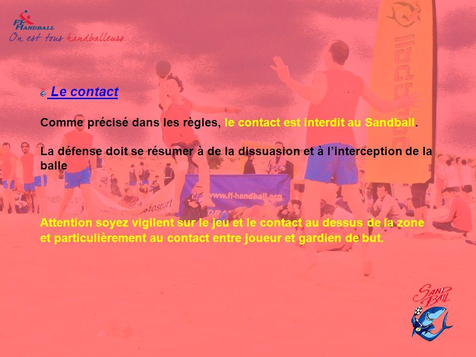 Le contact Comme précisé dans les règles, le contact est interdit au Sandball. La défense doit se résumer à de la dissuasion et à linterception de la