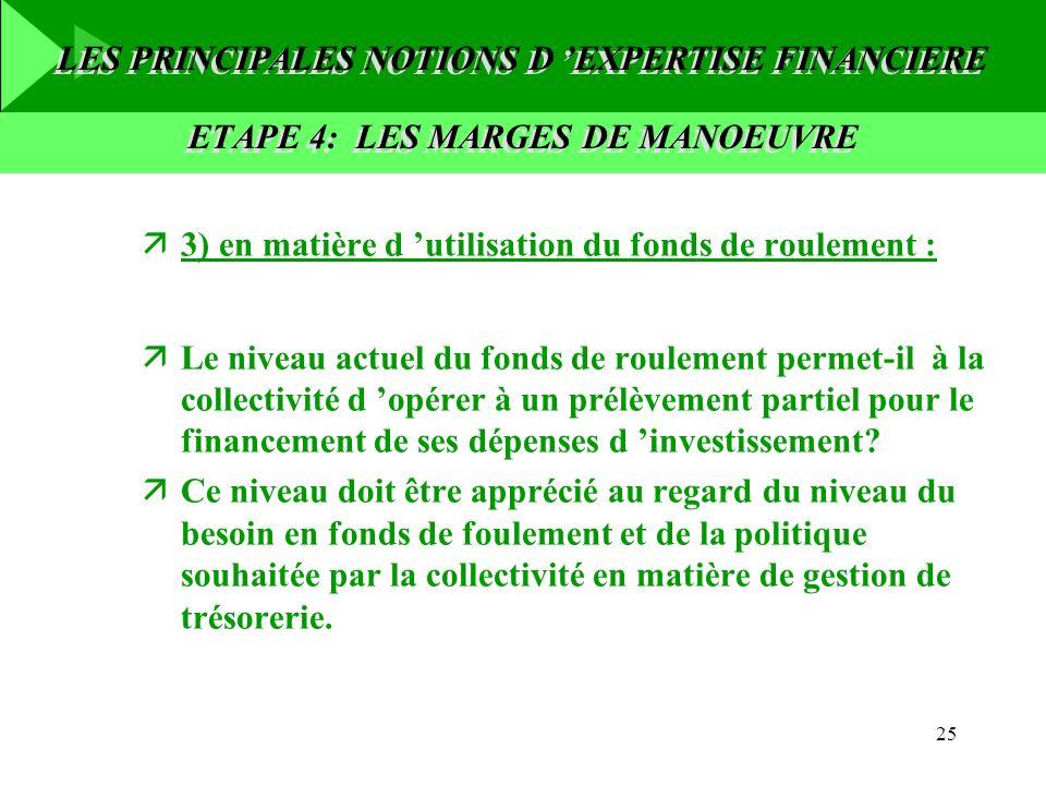 25 ä3) en matière d utilisation du fonds de roulement : äLe niveau actuel du fonds de roulement permet-il à la collectivité d opérer à un prélèvement