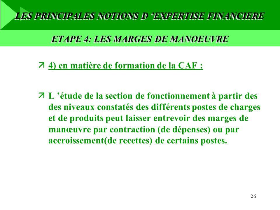 26 ä4) en matière de formation de la CAF : äL étude de la section de fonctionnement à partir des des niveaux constatés des différents postes de charge