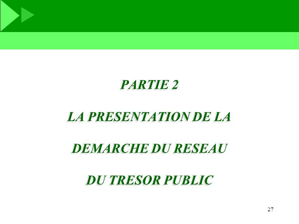 27 PARTIE 2 LA PRESENTATION DE LA DEMARCHE DU RESEAU DU TRESOR PUBLIC