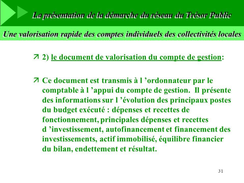 31 Une valorisation rapide des comptes individuels des collectivités locales ä2) le document de valorisation du compte de gestion: äCe document est tr