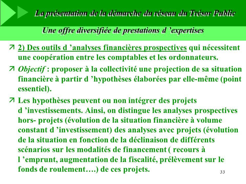 33 Une offre diversifiée de prestations d expertises ä2) Des outils d analyses financières prospectives qui nécessitent une coopération entre les comp